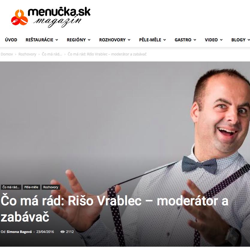 Rozhovor na stránke menucka.sk