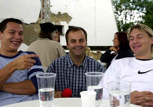 Slovenskí hokejisti. Vľavo Laco Nagy, v pravo Vlado Orságh.