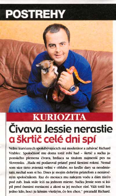 Týždenník Markíza 16/2002: Čivava Jessie nerastie a škrtič celé dni spí.