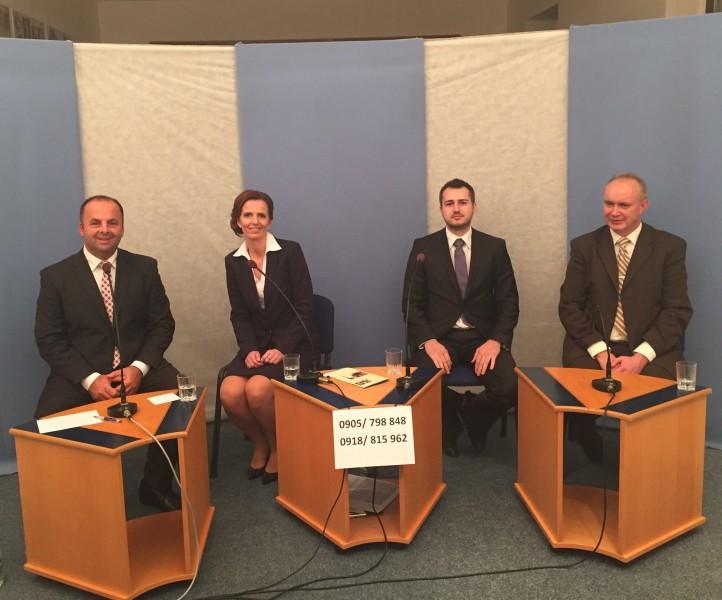 Televizna diskusia troch kandidatov na starostu obce Močenok. 10.novembra.2014.Močenok.