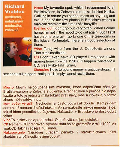 What's on Bratislava and Slovakia, marec 2004: Richard Vrablec - moderator/entertainer